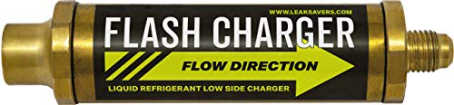 Leak Saver: Flash Charger Liquid Low Side Refrigerant Charging Adapter - Quick Charging up to 8x faster than Vapor Charging - With Built-In Check Valve for Vacuuming - Compatible With All Refrigerants