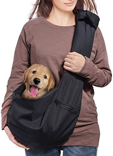 AOFOOK Dog Cat Sling Carrier, Adjustable Padded Shoulder Strap, with Zipper Pocket for Outdoor...