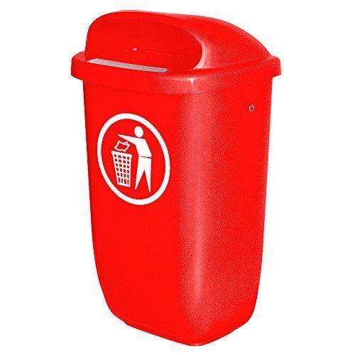 Abfallbehälter für den Außenbereich, 50 Liter, nach DIN 30713, Farbe: rot