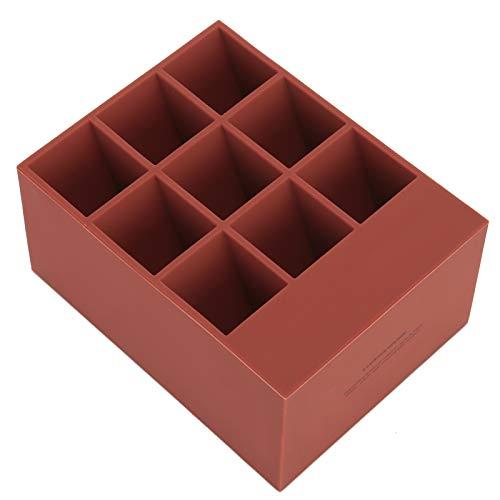 Organiseur de rouge à lèvres léger et tendance pour un usage domestique (boîte rouge marron-9 compartiments)