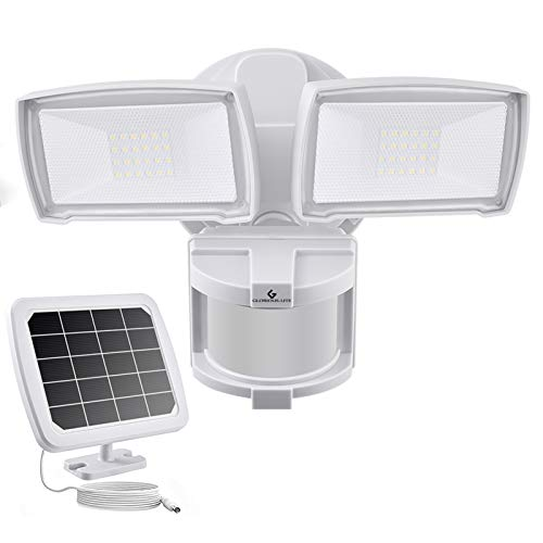 GLORIOUS-LITE Solar LED Security Lights, 2 Head Solar Motion Sensor Outdoor Light, 1000LM Super Bright LED Flood Light with Solar Panel, 5500K, Easy to Install, IP65 Waterproof for Backyard, Porch