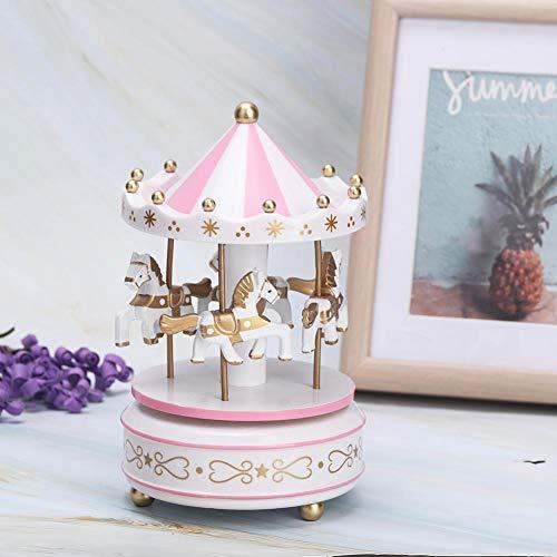 AUNMAS Merry-Go-Round Music Box Carrusel Caja Musical para Navidad Boda Regalo de Cumpleaños Tienda de Exhibición Artesanía Decoración del Hogar (4#)