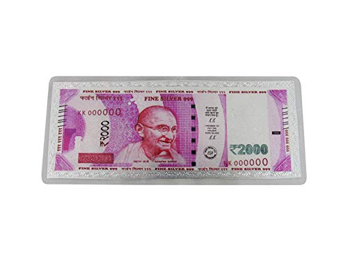 SWATI JEWELLERS 99.6% Pure Silver Fine Silver Currency Notes 2000 Indian Currency Note Colour Pink