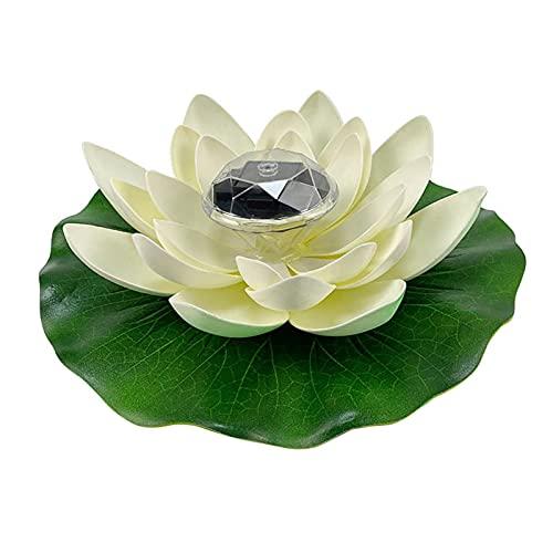 Künstliche Lotusblüte, schwimmende Lampe, Solar-LED, schwimmende Lotusblüte, Pool-Teichlampe, künstliche Wunsch-Lotus-LED-Garten, wasserdichte Nachtlichter für Aquarien, Springbrunnen, Hof (weiß)