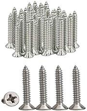 Drenky 100 piezas Tornillos autorroscantes 304 acero inoxidable Tornillos de cabeza plana Phillips Tornillos para madera autoperforantes Ranura cruzada estándar Sujetador para carpintería