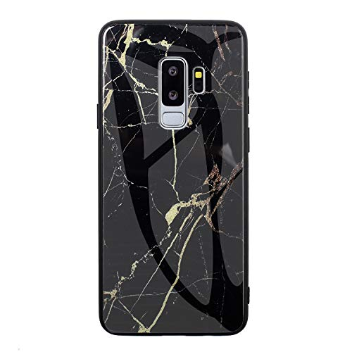 13peas hoes compatibel met Samsung Galaxy S9 Plus telefoonhoes marmer ultradun schokbestendig hardglas hoes back cover met siliconen rand bumper beschermhoes voor Samsung Galaxy S9 Plus, 2, zwart/goud.