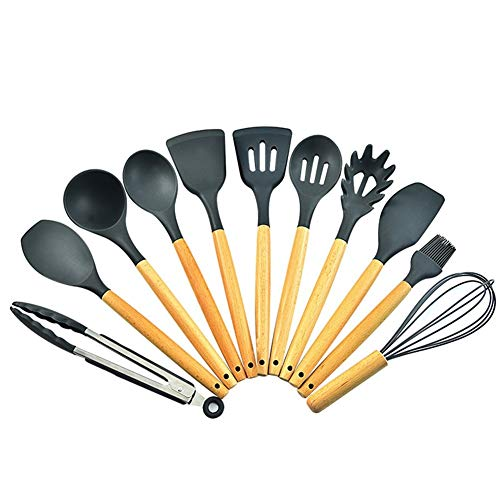 LF3 11-piece Silicone Kitchen Utensils Nonstick Pan Cooking Spatula Spoon Kitchenware Set S3L1TX (Color : Black)