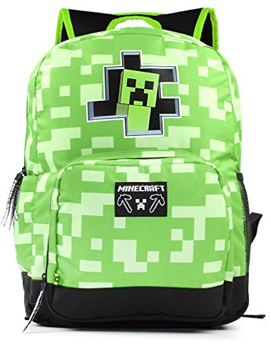 Minecraft Creeper Inside Kids Green School Mochila Mochila para niños