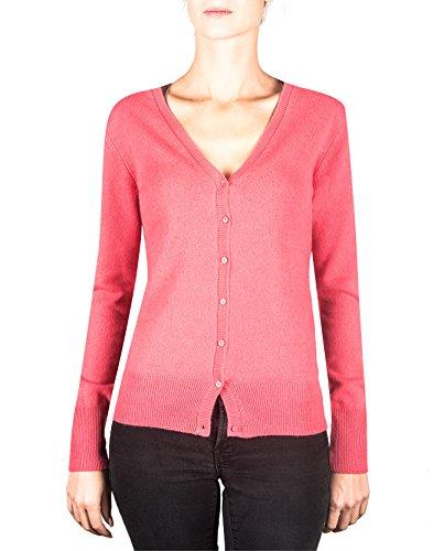 CASH-MERE.CH 100% Kaschmir Damen Pullover Cardigan V-Ausschnitt | Strickjacke V-Ausschnitt 2-fädig (Rosa/Virtual Pink, XL)