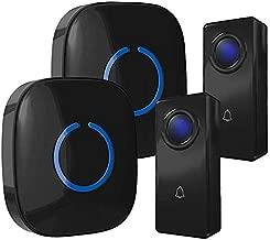 Wireless Doorbell by SadoTech – Waterproof Door Bells & Chimes Wireless Kit, 1000-ft Range,52 Door Bell Chimes, 4 Volume Levels with LED, Wireless Doorbells w/ 2 Receiver & 2 Button, Crosspoint, Black
