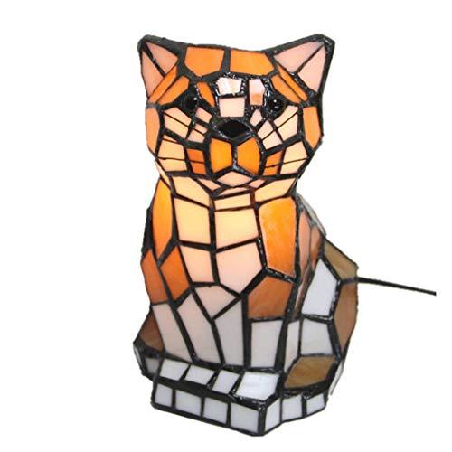 Lámpara Escritorio Dormitorio de mesa Tiffany lámparas de lectura animal creativo Estudio de la noche la luz, interruptor de botón