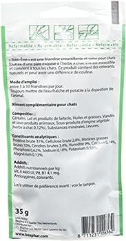 BEAPHAR – Friandises Bien-Être à l'Herbe à Chat pour Chat – Complément alimentaire enrichi en vitamines et minéraux – Favorise le bien-être intestinal – Sachet refermable de 35 g
