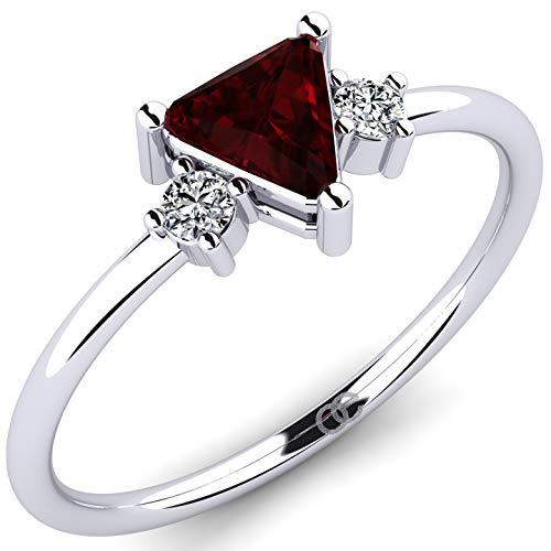 Anillo de plata 925 con granate AAA 0.35ct piedra central y 2 piedras de acento de circonita - anillo de piedras preciosas con piedras de Swarovski para mujer - anillo de plata pulido + estuche