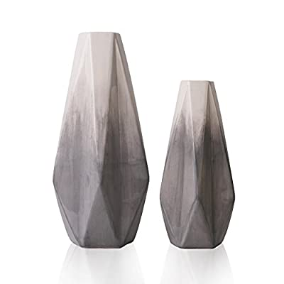 TERESA'S COLLECTIONS Ceramic Flower Vase, Modern Home Decor, Set of 2 Grey and White Geometric Decorative Vases for Table, Living Room, Kitchen, Centerpieces, Office, Wedding Decoration