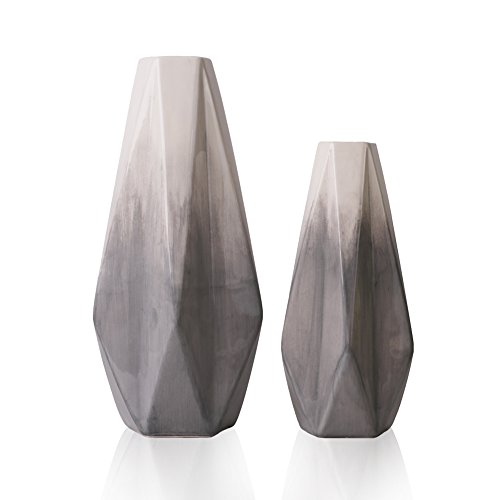 TERESA'S COLLECTIONS Ceramic Modern Vase for Home Decor, Handmade Grey and White Geometric Decorative Vases for Mantel, Living Room, Kitchen, Bedroom Decoration-11 inch, Set of 2