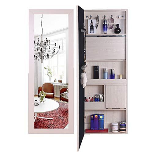 J+N An Der Wand Montiert Schmuckschrank Höhe: 120 cm Ganzkörperspiegel Spiegel Für Die Tür 4 Farben Optional Schmuck Veranstalter Für Halsketten, Uhren, Ringe, Armbänder Spiegel Schrank