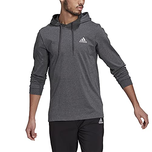 adidas,Mens,Small Logo Single Jersey Hoodie,Dark Grey Heather/White,Large