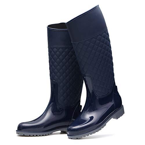 gracosy Stivali da Acqua Donne Stivali da Pioggia Alti Piatto Chelsea Rain Boot Giardino Wellington Scarpe Autunno Inverno Impermeabile Gomma Stivaletti Lavoro