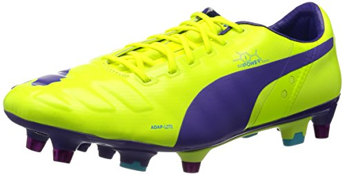 Puma Herren evoPOWER 1 Mixed SG Fußballschuhe, Orange (fluro yellow-prism violet-scuba blue 02), 44.5 EU