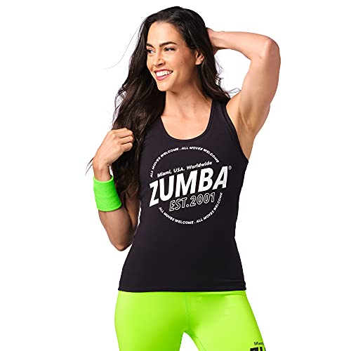 Zumba Black Graphic Print Fitness Dance Workout Racerback Tank Tops for Women, Blackout EST, S Camisa, Mujer