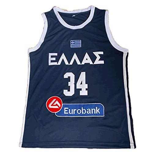 LDFN Basketballtrikot Griechenland Nationalmannschaft 34# Giannis Antetokounmpo Atmungs Stickerei Sport Sleeveless T-Shirt S-XXL (Color : A, Size : M)