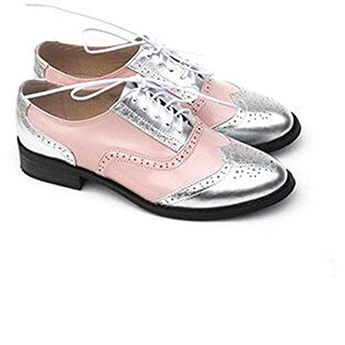 Women's Classic Multicolor Perforated Lace-up Oxfords Brogue Wingtip Low Heel Two Tone Saddle Shoes Pink Silver