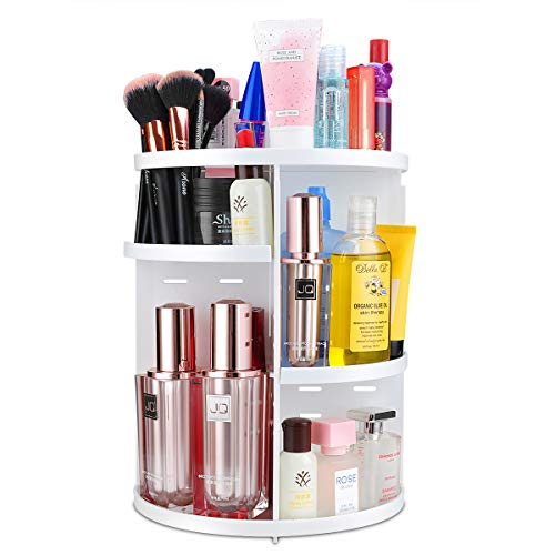 360 Rotating Makeup Organizer, Adjustable Lazy Susan Rack Large Capacity Storage Cosmetics Shelf Tower for Countertop and Bathroom, White