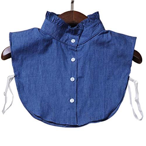 Tandou Kragen Blusenkragen Damen Abnehmbarer, Klassisches Denim-Blau Krageneinsatz Einsatz Accessoires (3#)