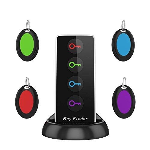 AOGUERBE Wireless Key Finder Phone Finder Smart Tracker Locator with LED Flashlight Anti Lost [1 Remote Control Transmitter 4 Receivers] Anything Finder Alarm Reminder Quickly Find Your Lost Items