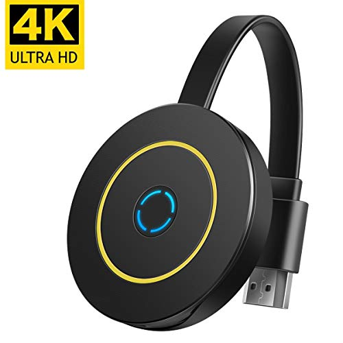 4K WiFi Wireless Display Dongle 4K Mini Receiver Sharing HD Video from Projectors Cell Phones Tablet PC Support Airplay Ezmira Miracast DLNA TV Cast 4K Wireless HDMI Display Adapter Mirascreen