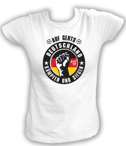 Artdiktat Damen Fan T-Shirt - Auf gehts Deutschland - Kämpfen und siegen Größe XXL, weiß