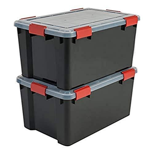 Iris Ohyama 2er-Set luftdichte Aufbewahrungsboxen, 50 L, mit Clips, stapelbar, Garage, Keller, Dachboden - Air Tight Box AT-L - Schwarz