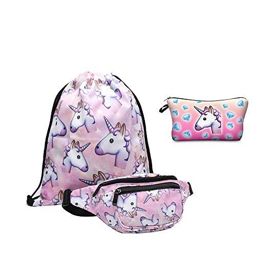 Reisetasch Kinder, Giddah Casual Einhorn Bauchtasche Gürteltasche Handytasche Tasche mit kordelzugbeutel und Kosmetiktasche 4er/Pack