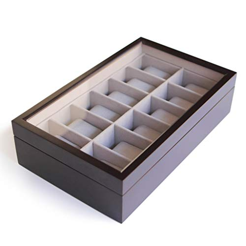 Solid Espresso 12 Slot Wood Watch Box Organizer with Glass Display Top by Case Elegance