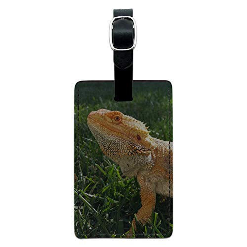 Bearded Dragon in Profile Rectangle Leather Luggage Card Carry-On ID Tag