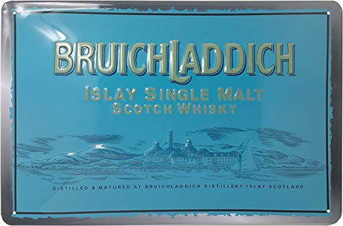 BRUICHLADDICH Whisky, hochwertig geprägtes Retro Werbeschild, Blechschild, Türschild, Wandschild, 30 x 20 cm