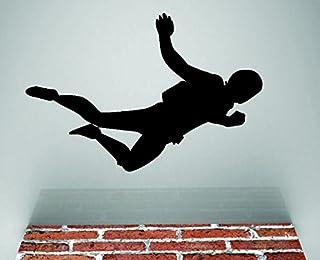ملصق حائط مصنوع من الفينيل RAD 557 3 Parachute Jumping Man Sky Diving Freefall من الفينيل، أسود، 50.8 سم × 76.2 سم