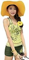 水着 レディース タンキニ ショートパンツ 大きいサイズ 女の子 uvカット スイムウェア フィットネス タンキニ かわいい 花柄 体系カバー (XL, イエロー)
