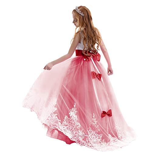 Pizzo Floreale Bowknot del Organza Ragazza Vestito Ricamato con Paillette da Ragazza Princess-Abito da Sposa Cerimonia Festa #1 Rosso 2-3 Anni