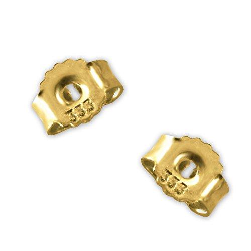 CLEVER SCHMUCK Goldene kleine Paar Poussetten 5 x 4 mm glänzend, gezackt griffiger Rand 333 Gold 8 Karat Ersatzteil Stecker Ohrmutter für Goldohrstecker
