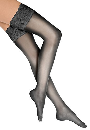 Wolford Damen Halterlose Strümpfe & Socken (LW) Satin Touch 20 Stay-Up, 20 DEN,black,Large (L)