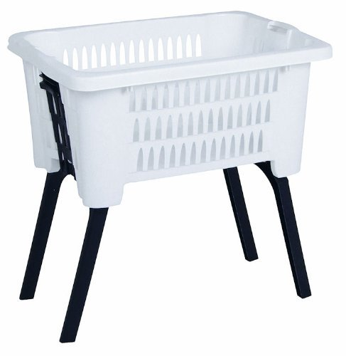Spetebo Wäschekorb mit Beinen - auf Knopfdruck ausgeklappt und eingefahren - Farbe: Weiss