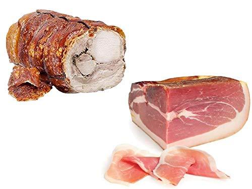Mix Degustazione: Trancio di porchetta di Ariccia IGP 2 kg + Fiorucci Trancio di Prosciutto Crudo di montagna stagionatura 12 mesi 2,5 Kg Circa