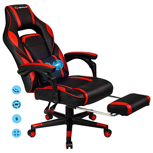 POWERSTONE Massage Gaming Chair - High Back Ergonomic Esports Office Computer Chair Recliner with Footrest Lumbar Support Headrest Armrest PU Leather Adjustable Rolling Swivel Desk Chair, Red