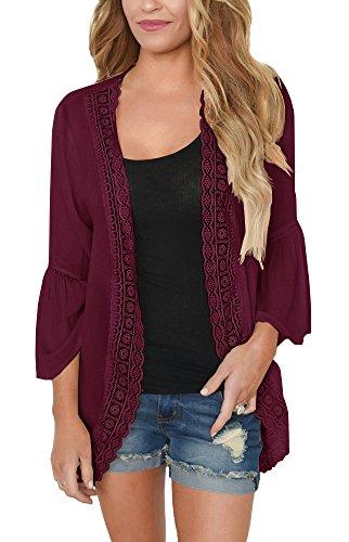 PRETTODAY Women's Lace Chiffon Cardigan Loose Kimono Blouse Top (Medium, Burgundy)