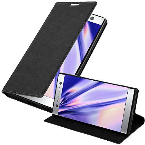 Cadorabo Hülle für Sony Xperia XA2 Ultra in Nacht SCHWARZ - Handyhülle mit Magnetverschluss, Standfunktion & Kartenfach - Hülle Cover Schutzhülle Etui Tasche Book Klapp Style