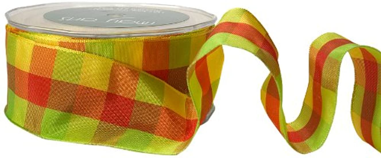 May Arts 1-1/2-Inch Wide Ribbon, Red and Parrot Green Check