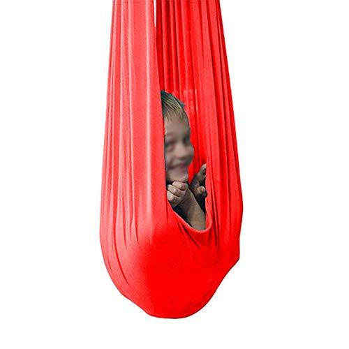 LHHL Verstellbare Aerial Flying Yoga Hängematte Indoor Therapie Schaukel für Kinder und Jugendliche sensorische Schaukel Hängesitz (Farbe: Rot, Größe: 100 x 280 cm)