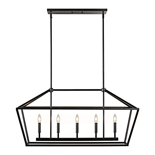 MOTINI 5-Light Kitchen Island Lantern Pendant Linear Chandelier Black Rod Hanging Light 40