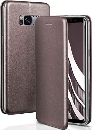 ONEFLOW Handyhülle kompatibel mit Samsung Galaxy S8 - Hülle klappbar, Handytasche mit Kartenfach, Flip Hülle Call Funktion, Klapphülle in Leder Optik, Taupe